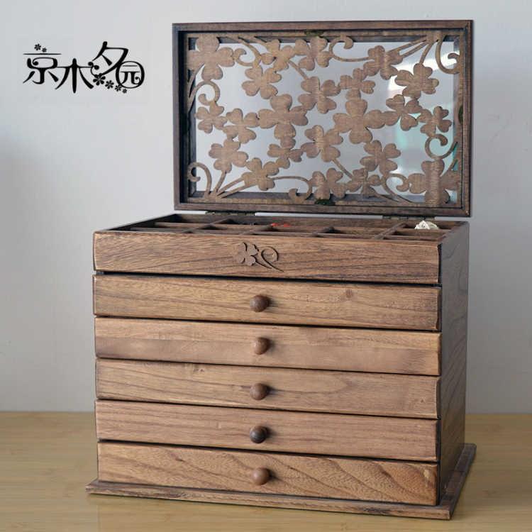 超大容量 实木首饰收纳木质首饰盒公主欧式韩国手饰品盒创意礼物