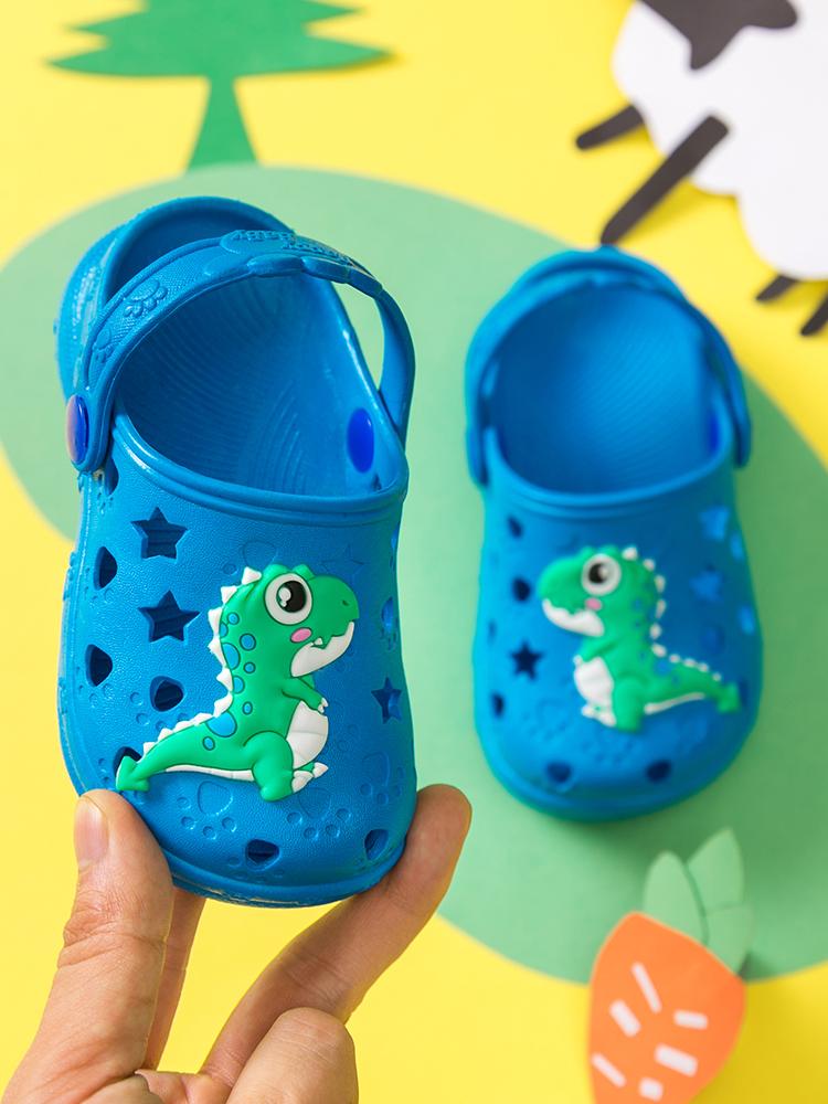 夏季儿童洞洞鞋男宝宝沙滩防滑室内凉拖鞋婴幼儿男童小孩包头鞋