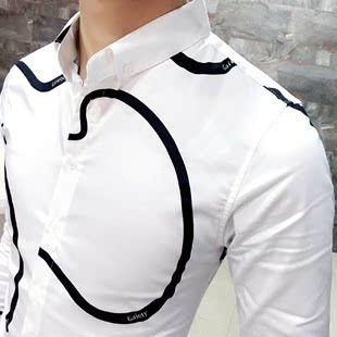 秋季新款個性休閑幾何圖案男士長袖襯衫男修身型男裝英倫火熱暢銷