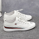 2019 summer small white shoes full-skin flat shoes trendy shoes men breathable white head layer psoriasis casual