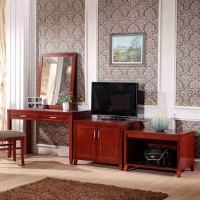 星级酒店客房家具实木写字桌椅电视柜行礼柜酒店家具标间全套