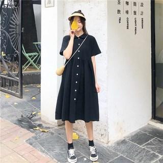 季2019新款女装复古连衣裙学生闺蜜款中长款小清新短袖A字裙潮