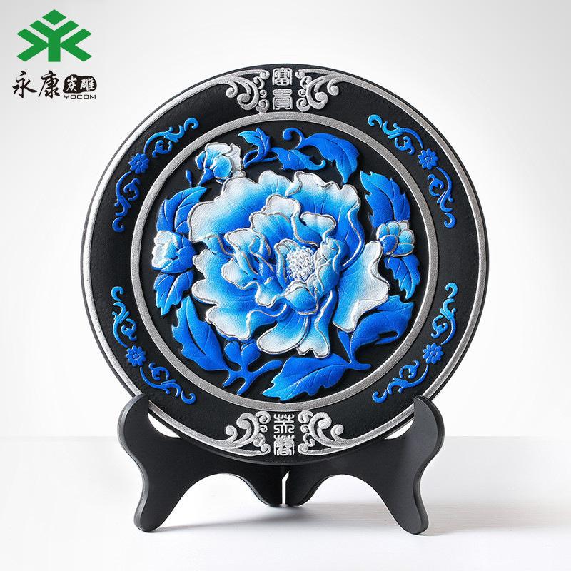 炭雕定制活性炭工艺品富贵芙蓉蓝创意实用办公礼品创意礼品定制