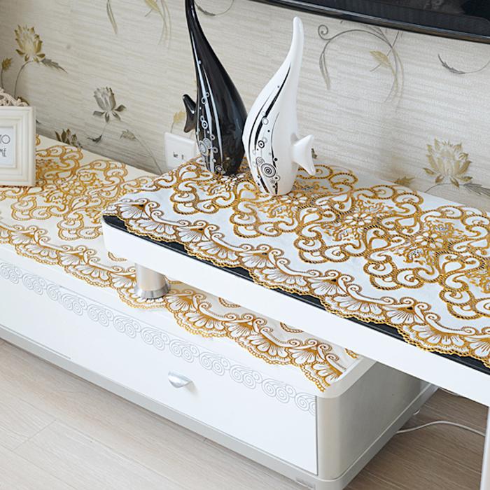 欧式定做茶几垫垫桌旗桌布电视柜PVC烫金