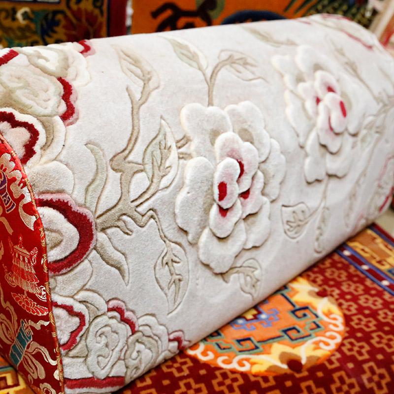 藏式牡丹羊毛靠枕佛教用品供养上师送礼柔软舒适客厅靠垫靠背腰枕