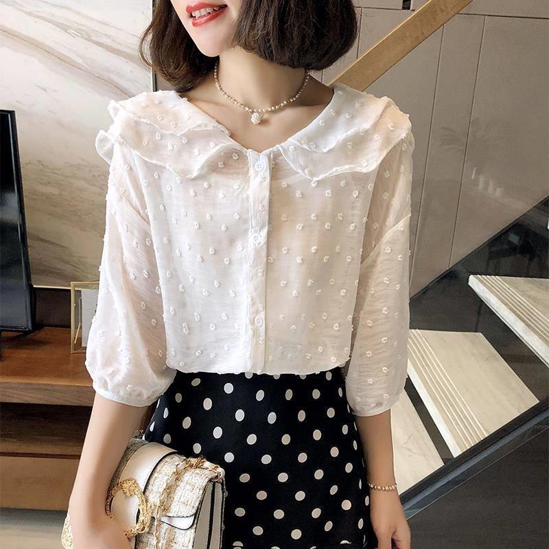 【送吊带】女显瘦遮肚子洋气衬衫2019夏季设计感娃娃领甜美雪纺衫
