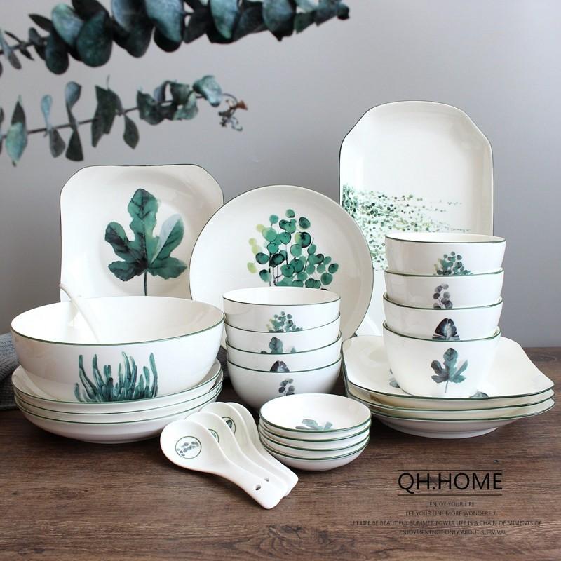 2019新款绿植陶瓷餐具碗碟勺套装北欧风碗盘组合4人/6人家用简约