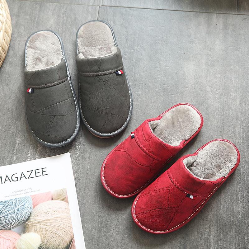 保暖毛毛拖鞋月子棉鞋秋冬季新款情侣棉拖鞋包跟居家室内防水防滑