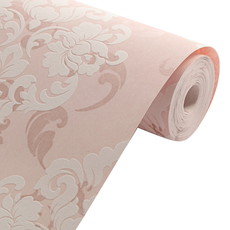 纸小马士革壁纸卧室客t欧式奢华无纺布厅背景强3d立体植绒