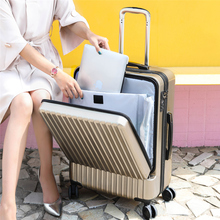 Business suitcase, computer suitcase, front opening suitcase, Cardan wheel boarding suitcase, 20 inches for men and women on business