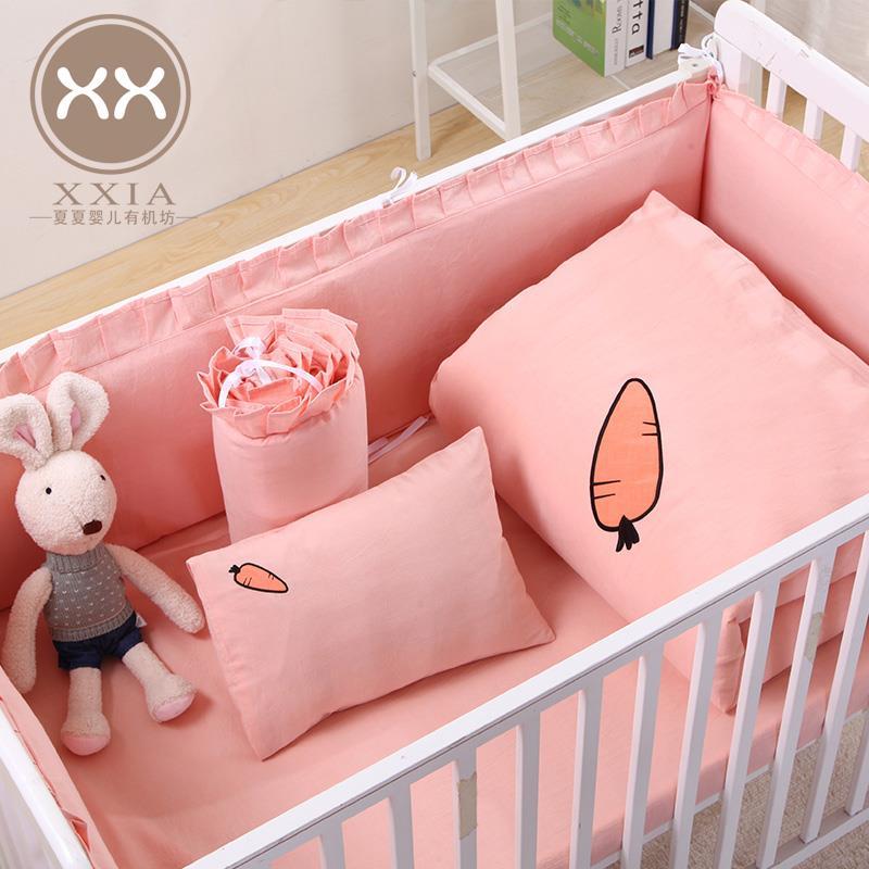 婴儿床上用品宝宝婴童床品床围套件被套床单枕套幼稚园三件套纯棉