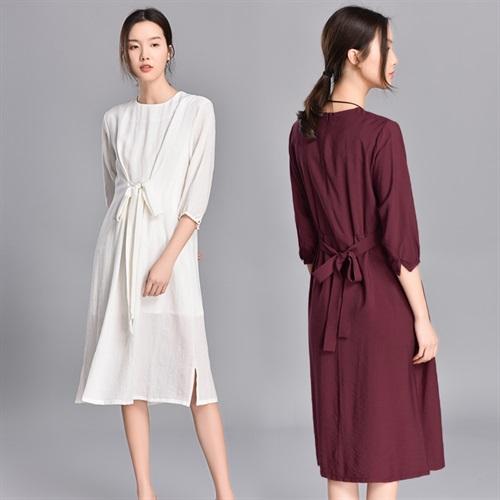 春季2019新款气质舒适纯色连衣裙中长款知性百搭冷淡风