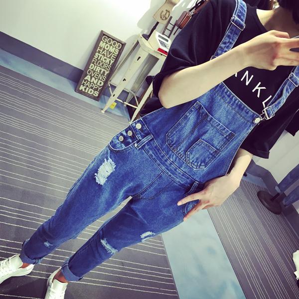 夏季牛仔连体裤女长裤