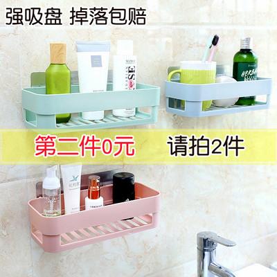浴室壁挂置物架卫生间免打孔吸盘收纳架子厨房用品吸壁式强力挂架