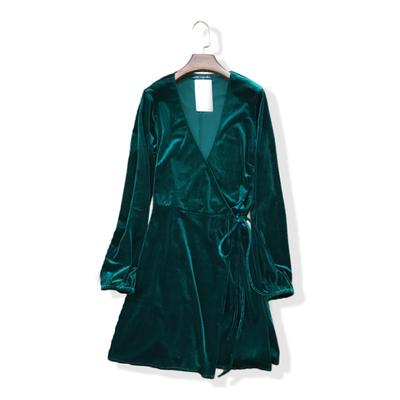 欧美风裹胸V领显瘦和服式收腰系带长袖丝绒连衣裙 天鹅绒短裙女春