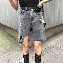 Jinnannan studio ins tall waist, thin, pure color, irregular edges, jeans, shorts, holes, five-minute pants, women's fashion
