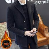 男士 毛呢外套英伦青少年呢子大衣 加绒加厚修身 韩版 冬季风衣男短款