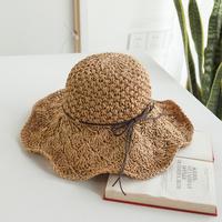 草帽沙滩帽潮帽子女夏天太阳帽出游帽镂空大檐帽可折叠凉帽遮阳帽