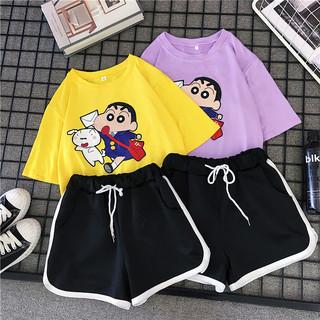 休闲套装女春夏2019新款时尚韩版大码女装运动服短袖短裤两件套潮