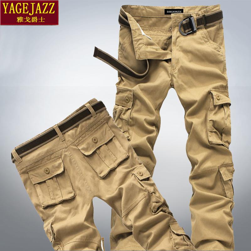 纯棉多口袋工装裤迷彩长裤运动裤男士宽松加大码耐磨全棉休闲裤潮
