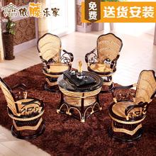 依藤乐家休闲阳台转椅靠背椅组合真藤椅子茶几三件套欧式客厅桌椅