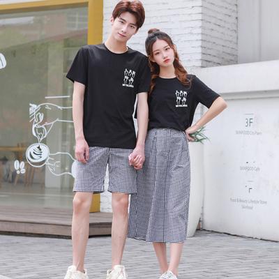同色系七夕情侣装夏装套装2018新款裙子女短袖T恤不一样的气质qlz