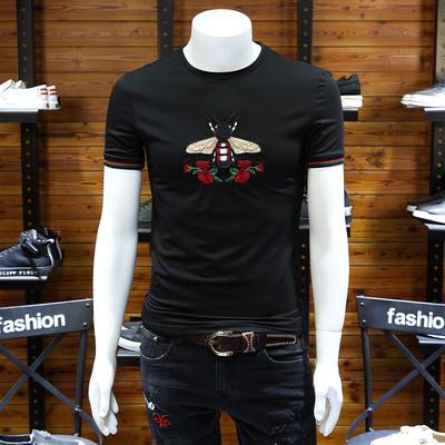欧洲站男装小蜜蜂刺绣t恤修身圆领丝光棉半恤玫瑰花潮流大码短袖