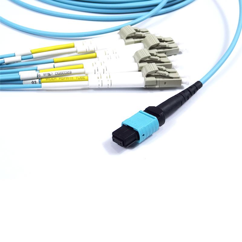 MPO-4DLC室内预端接光缆MPO-8LC多模万兆OM3集束跳线40G数机房MPO-LC全兼容QSFP