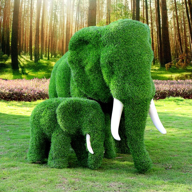 大型户外绿植假草皮大象雕塑 母子象
