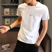 2019男士短袖t恤圆领宽松上衣夏季韩版纯棉内搭白体恤男装半袖潮