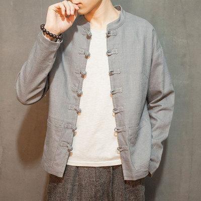 唐装男青年中国风男装亚麻夹克复古民国风中山装汉服中式棉麻外套