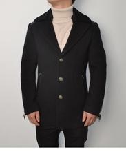 大衣 包邮 男士 冬加厚风衣羔毛领貂绒拼接羊皮真皮拼接外套潮版修身图片
