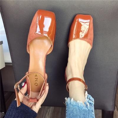 凉鞋女2019新款方头低跟鞋韩版一字扣大码女鞋百搭粗跟鞋小跟单鞋