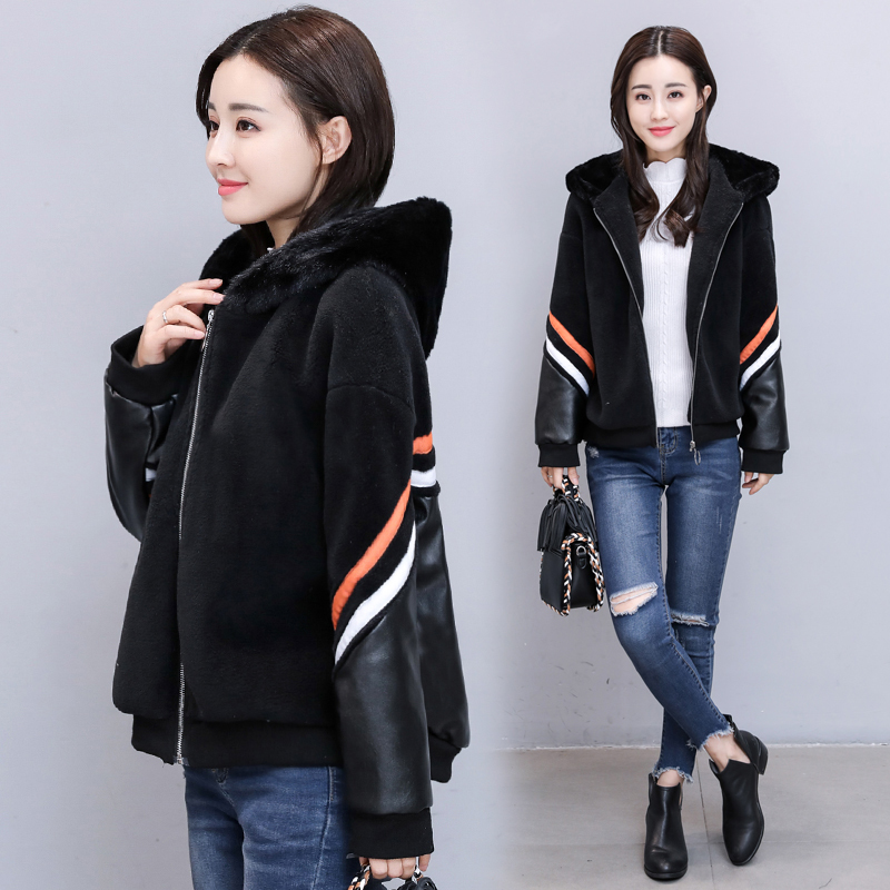 plus fertilizer to increase the size winter fat mm hooded sheepskin coat 200 Kg PU leather