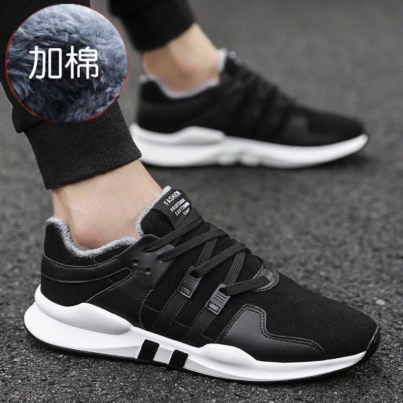 新款运动休闲板鞋韩版潮流男鞋布鞋保暖男士帆布潮鞋冬季棉鞋 2017