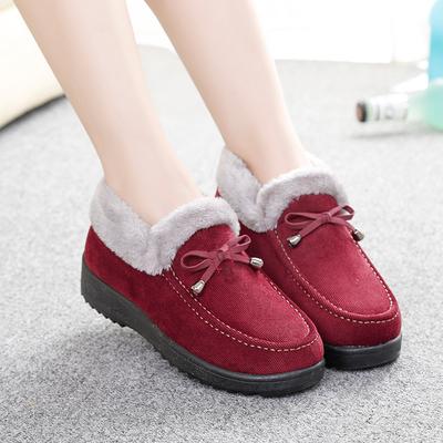 冬季老北京布鞋女棉鞋加绒保暖中老年妈妈鞋短靴子毛口女鞋雪地靴