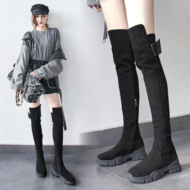 真皮显瘦腿黑色厚底长靴女过膝长筒靴网红高筒骑士靴马靴子冬加绒