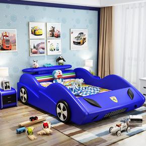 个性儿童皮床男孩带储物卡通跑车床女孩1.2米1.5米创意护栏汽车床