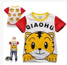Cotton Cartoon Tiger T-shirt, Short Sleeve Clothes, Baby's and Children's Outerwear, Pure Cotton Game, Festival Performance Clothes, Baggage and Mail