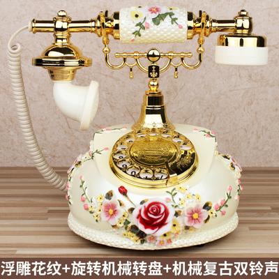 仿古电话机欧式田园复古老式实木旋转新款客厅家用美式电话座机