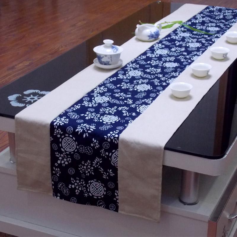 民族布艺亚麻蓝色印花桌旗 中式茶几桌旗床旗餐桌布布艺软饰台布