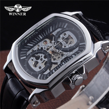 European-style genuine automatic mechanical watch large dial hollow square watch male fashion personality wrist epidermis belt
