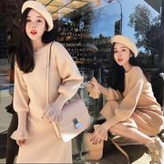 春秋装新款韩版荷叶袖网红毛衣裙过膝女套头中长款打底针织连衣裙