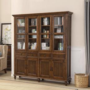 白蜡木全实木书柜组合玻璃门 美式乡村三/四门储物书橱欧式储物柜