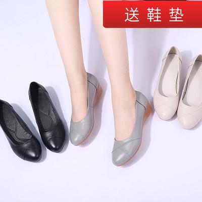 妈妈皮鞋真皮软底舒适平底妈妈鞋中年坡跟软皮单鞋女工作鞋女黑色
