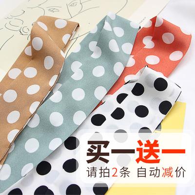 春夏季波点细长条窄小丝巾女圆点百搭小领巾丝带腰带chic发带装饰