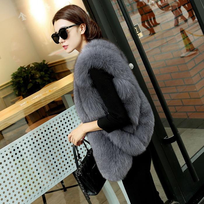 2018 autumn and winter new imitation fox fur grass vest female short section Slim Korean water