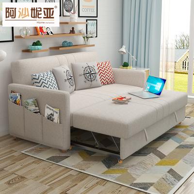 可折叠沙发床1.5多功能布艺1.2小户型实木简约客厅1.8两用双人2米