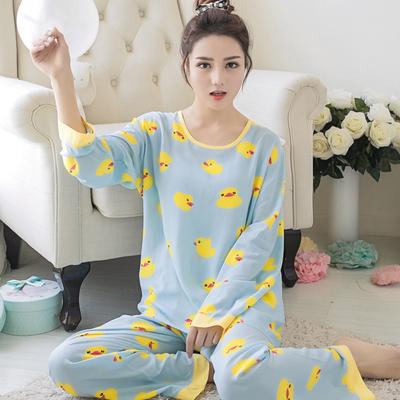 夏季韩版可爱棉绸睡衣女士薄款春秋季长袖绵绸甜美卡通家居服套装
