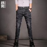 Shu men's 2019 autumn and winter young men's elastic jeans sub-Korean version of the slim-footed pants long pants tide